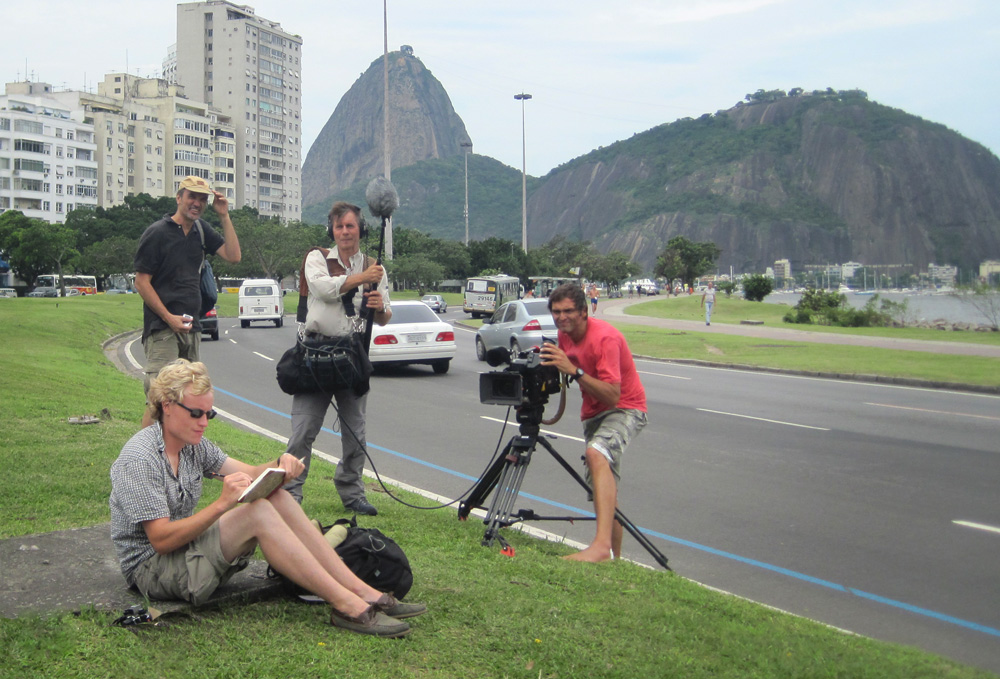 Anthony Smith being filmed as a presenter for the TV documentary series Beagle in 2009